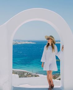 Oia Santorini, Blue Color Schemes, Travel Photographer, Greece, Polaroid Film, Short Sleeve Dresses, Adventure, Photography, Sick