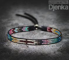 Billedresultat for bead loom bracelet sluiting Bead Loom Bracelets, Bracelets For Men, Seed Bead Jewelry, Beaded Jewelry, Bead Loom Designs, Homemade Bracelets, Bead Crochet Patterns, Tear, Loom Beading