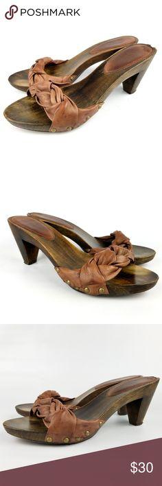 b2ba74e3e944 Frye Sammy Softie Slide Sandals Brown Leather Wood Frye Sammy Softie Slide Sandals  Brown Leather Wooden Heels Slide Shoes 9 US. Braided brown leather strap ...