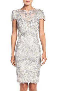 Free shipping and returns on Tadashi Shoji Lace Sheath Dress at Nordstrom.com. Elegant and romantic in stunning embroidered lace crafted with an intricate illusion neck and soft scalloped edges.