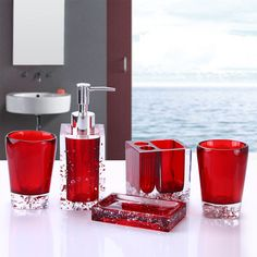Resin Soap Dish Dispenser Toothbrush Holder Tumbler Bathroom Accessory 5 Piece Set Red To View Further For Th Home And Inspiration