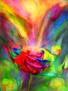 Browse through images in Carol Cavalaris' Rainbow Art Collection collection. A collection of art featuring a rainbow or rainbow colors, by Carol Cavalaris. Rainbow Roses, Rainbow Art, Rainbow Colors, Rainbow Butterfly, Butterfly Art, Fantasy Kunst, Fantasy Art, Art Floral, Fine Art Amerika