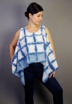 Indigo Shibori abgeschnitten, Tank blau und weiß, Top, bedruckt von StephanieRasulo auf Etsy https://www.etsy.com/de/listing/165693556/indigo-shibori-abgeschnitten-tank-blau