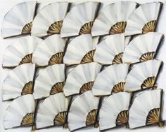 Lisa Milroy - Fans, 1986, oil on canvas, 203x259cm DESCRIBE WHAT IS IN PAINTING - COLOUR, LINE, TEXTURE, PATTERN, SHAPE/FORM, TONE, COMPOSITION (where things are placed), MOOD / ATMOSPHERE, YOUR OWN OPINION