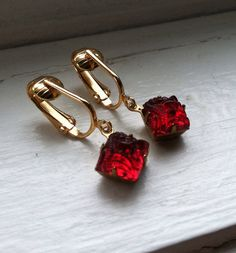 Cranberry Red Carved Glass Dangle Clip On by RedCarpetClips, $20.00