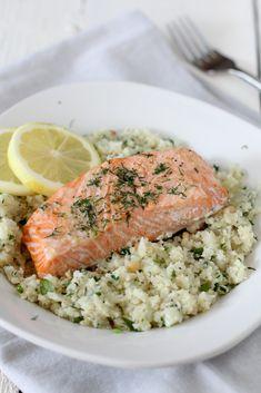salmon with lemon + herb cauliflower rice