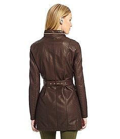 Kenneth Cole Reaction MidLength FauxLeather Jacket #Dillards