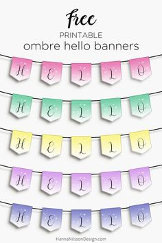 Ombre hello banners | Spring party printable | #freeprintables #banners #partydecor #ombre #printabledecor