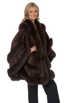 Find Madison Avenue Mall Fox Trim Plus Size Brown Cashmere Wrap Shawl Cape Empress Style online. Shop the latest collection of Madison Avenue Mall Fox Trim Plus Size Brown Cashmere Wrap Shawl Cape Empress Style from the popular stores - all in one Cashmere Cape, Cashmere Fabric, Fur Fashion, Fashion Outfits, Fur Cape, Fox Fur Coat, Plus Size Swimsuits, Shawls And Wraps, Coats For Women