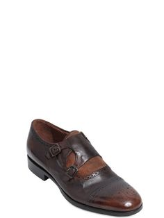 rolando sturlini - men - lace-up shoes - monk strap washed leather shoes