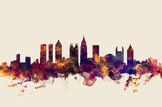 New York cityscape - watercolor art print - skyline art ...