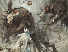 Minotaurs battling a High Elven Knight