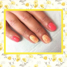 "CND Shellac ""Honey Darlin & Tropix"" Accent nails using Sascha Gossen Yours stamping plate."
