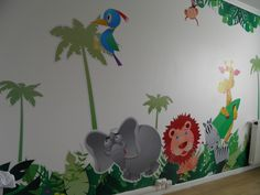 huge kids room decor with jungle decals by Jungle Room, Safari Party, Church Ideas, Boy Room, Sunday School, Kids Rooms, Grandkids, Decals, House Ideas