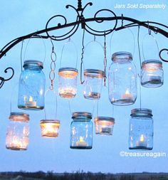 Hanging Mason Jars cute idea for outdoor space