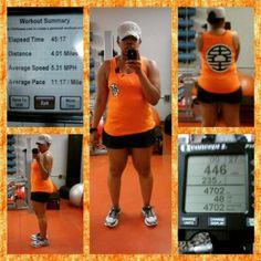 #fitfam, I went #SuperSaiyan today. 4.01 miles in 45.17 on the #dreadmill. Then, 30 min on the rower. #Goku would be proud. I've been waiting to wear this tank. #dragonballzkai #dragonballz #fitmom #strengthtraining #getfit #getoutanrun #getoutandmove #run #HalfMarathontraining