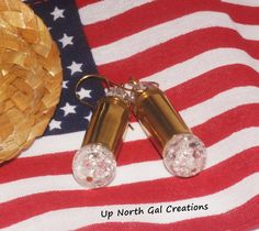 FREE SHIPPING to the USA, 40 Caliber Earrings, Clear Crackle Glass, Crackle Glass Earrings, Hunter Jewelry, Outdoor Sports, Bullet Jewelry,