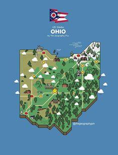 Ohio Map, U.s. States, Geography, Usa, United States