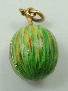Victorian gold and enamel watermelon locket charm