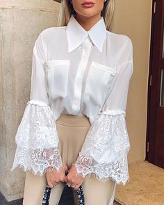 Eyelash Lace Bell Sleeve Casual BlouseThe Effective Pictures We Offer You About Women Blouse pattern A quality picture can tell you many things. You can find the most beautiful pictures that can be presented to you about Women Blouse hijab in this