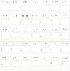Formats om de schrijfletters te oefenen op wisbordjes of gewoon met pen/potlood.