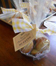 Coffee Filter in bottom, cellophane wrap & ribbon. Choc-chip mini muffins: bake sale | the pearl owl
