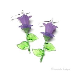 Purple Lily Earrings, Lilac Lily Flower Swarovski Crystal Silver Dangle Earrings, Romantic Jewelry, Lavender Flower Garden Crystal Earrings