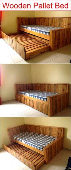 wooden-pallet-bed #woodenpalletfurniture