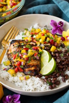 Jerk Chicken with Mango Avocado Salsa and Coconut Rice - Cooking Classy