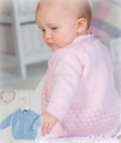 Download this free babies cardigan knitting pattern courtesy of Peter Pan. The pattern is photographed in pink and blue Peter Pan Merino Baby DK but is available in 6 other shades too. This 100% merino knitting yarn is extremely soft so it's perfect for babies.