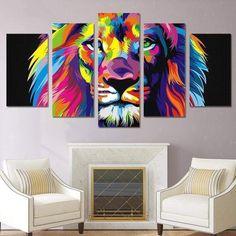 Tableau Pop Art Lion 5 Piece Canvas Art, Canvas Frame, Canvas Wall Art, Wall Art Prints, Poster Prints, Canvas Prints, Canvas Fabric, Home Decor Paintings, Home Decor Wall Art