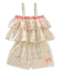 Look at this Juicy Couture Cream & Gold Geometric Ruffle Romper - Infant, Toddler & Girls on #zulily today!