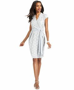 Alex Evenings Dress, Short-Sleeve Lace Sequin - Womens Dresses - Macy's