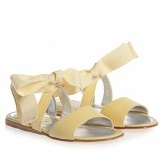 Mi Mi Sol Girls Yellow Leather Sandals with Bow at Childrensalon.com