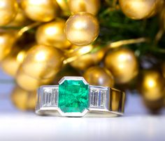 Colombian Emerald Ring, Emerald cut gem, half rub set with stepped rub set Baguette Diamonds and parallel band. Colombian Emerald Ring, Colombian Emeralds, Baguette Diamond, Mistletoe, Emerald Cut, Green Wedding, Filigree, Rings For Men, Artisan