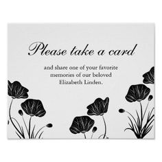 #Poppies - Take a Card - Share Memories - Funeral Poster - cyo customize design idea do it yourself diy