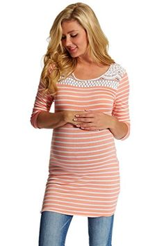 afe1ace4fab0c PinkBlush Maternity Striped Crochet Accent 3/4 Sleeve Top at Amazon Women's  Clothing store: