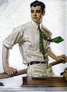 """""""Portrait of Charles Beach"""" by J C Leyendecker (German/American Painted for an advertisement for Arrow Shirts. Beach was Leyendecker's long-term lover, and made him the renowned face of Arrow Shirts and collars. Vintage Art, Vintage Posters, Jc Leyendecker, Arrow Shirts, Men's Shirts, American Illustration, Norman Rockwell, Caricatures, Art Inspo"""