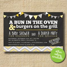 Couples Baby Shower Invitation, Co-ed Baby Shower Invite, Diaper Party, Bun in the Oven, BBQ Baby Shower, Chevron Striped Invitation, Modern by creativelime on Etsy https://www.etsy.com/listing/235233049/couples-baby-shower-invitation-co-ed