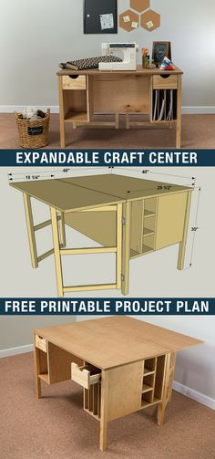 DIY Expandable Craft Center | Free printable project plans on buildsomething.com | Whether you're working on craft projects, sewing, or pursuing another hobby, this craft table offers a large work surface that can be expanded when you need even more room. Plus this table has storage for all of your supplies. Build one for yourself, and you'll be set to get your craft on!