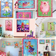 Cuadros infantiles pintados a mano llenos de fantasía y alegría !