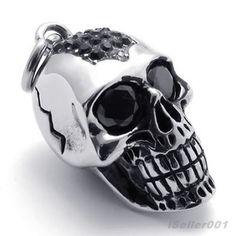 Black Tone Eye Skeleton Skull Stainless Steel Men's Pendant Necklace US520637 - $56nok (free)