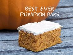 pumpkin bars cream cheese frosting - good, but I would not call it the best ever Fall Desserts, Just Desserts, Delicious Desserts, Dessert Recipes, Yummy Food, Baking Desserts, Yummy Snacks, Dessert Ideas, Yummy Treats