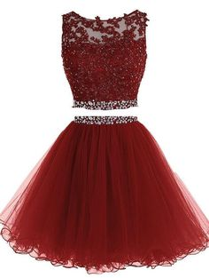 Burgundy Two Piece Short Beading Homecoming Dress , Short Prom Dress