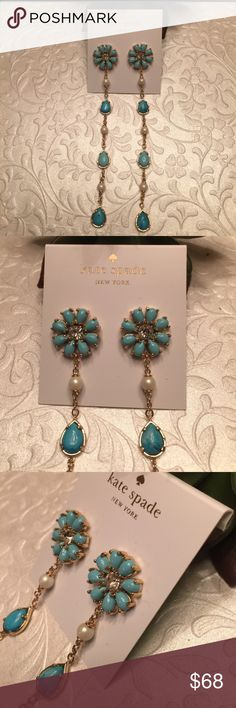 "Kate Spade AZURE FLORAL & PEARL DROP EARRINGS TURQUOISE VIBRANT TEARDROP PENDANTS ADORN KATE SPADE NEW YORK'S FLOWER-POWER ACCENTS ACE THE STATEMENT-EARRING TREND WITH THESE LOOK-AT-ME ADORNMENTS approx. 4.25"" drop length - duster style. post backs 14K gold-plated metal/glass/epoxy/Mother of Pearl NEW with tag & gift pouch kate spade Jewelry Earrings"