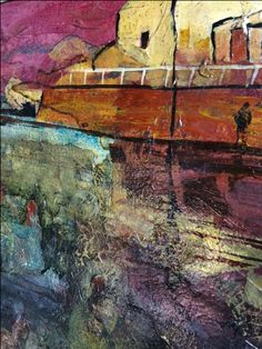 Currently in on display Surface An exhibition by #hunterwomenartists  Closes 2nd Oct 'Swimming Pool' Mixed media By Lee Ann Corrigan #visitcstudiosartgallery #newcastlensw #talented #artists