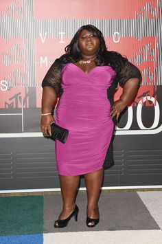 Gabourey Sidibe from 2015 MTV Video Music Awards Red Carpet Arrivals Going with a punchy pink hue, the actress adds a vivid pop of color to the red carpet mix. Gabourey Sidibe, Curvy Celebrities, Celebs, Celebrity Red Carpet, Celebrity Style, Mtv Video Music Award, Music Awards, Star Wars, Big And Beautiful