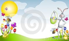 Photos of Spring Scenes | Cartoon Easter Animals Spring Scene