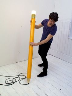 """asylum-art: """" Pencil Lamp by Michael & George Designers from London Michael & George had the extravagant idea to imagine a lamp in the form of a giant pencil. A project where the light flashed from a..."""