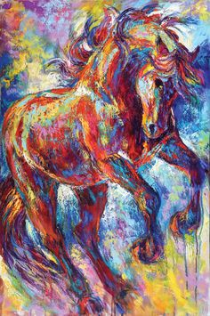 """""""Mustang Rising"""" by Barbara Meikle . . . The spirit of this mustang is as vibrant as his color and texture. Available at www.MeikleFineArt.com"""